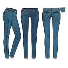 Women's Medium Rinse Basic 5-Pocket Skinny Jean Fashion Flat Template $ 2.99