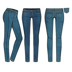 Women's Medium Rinse Basic 5-Pocket Skinny Jean Fashion Flat Template $ 2.99