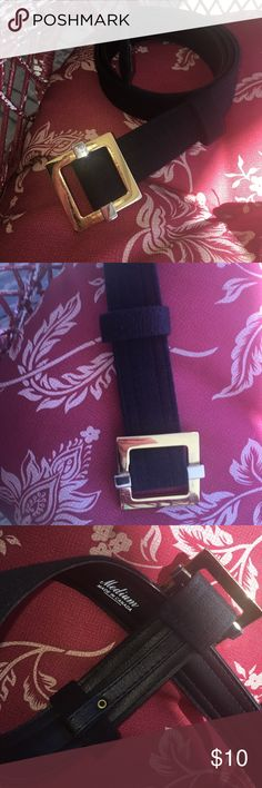 "Belt Two Tone Metal Buckle A classy, textured Black fabric belt, with a two tone, gold & silver metal buckle❗ This belt is a good quality, made in Canada, and has a slide style adjustment with an anchored loop keeper.  Will accessorize any outfit and go well with Gold, Platinum, or Silver jewelry.  In a size Medium, total of 41"" long and 1  1/4"" wide.  In very good condition and * from a smoke free home. 🎯Bundle me with another item you like to cut shipping costs ❗ boutique/unbranded…"
