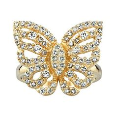 Gold Butterfly Ring - Mariah Carey Inspired Jewelry *** Want additional info? Click on the image.