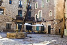 Courtyard at Hotel Neri in the Gothic Quarter of Barcelona, Spain