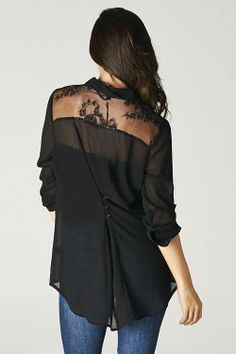 Black Top with Lace Trim