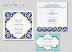 Spanish Square Tiles Wedding Invitation Suite by encrestudio