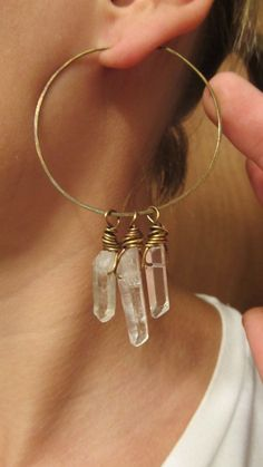 Hoop Earrings Wire Wrap Quartz Crystal Points Rustic Jewelry Big Earrings Boho Gypsy Hammered Brass Metalwork Earrings