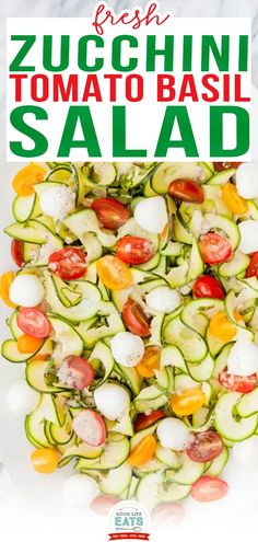 This Zucchini Tomato Basil Salad with Lemon Basil Vinaigrette is a light and refreshing summertime salad and perfect when your garden is exploding with tomatoes, basil, and zucchini in the later summer months. I think it is a crowd-pleaser, considering that when I served it adults and kids (in a variety of age ranges) happily ate it. | @goodlifeeats #summersalad #zucchinisalad #healthysummersalad #potlucksalad Tomato Basil Salad, Zucchini Tomato, Zucchini Salad, Frozen Vegetable Recipes, Frozen Vegetables, Grilled Vegetables, Summertime Salads, Summer Salads, Lemon Basil Vinaigrette