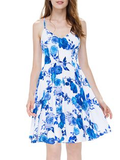#AdoreWe #StyleWe Dresses - CICI WANG Floral-print Elegant V Neck Swing Spaghetti Midi Dress - AdoreWe.net