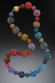 Rainbow Necklace - Crocheted Beaded Beads by Lynne Sausele