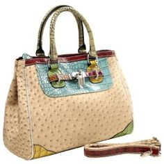 MG Collection KAEDE Classy Beige Ostrich Embossed w/ Faux Crocodile Accents Office Tote Purse