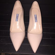 """Prada pointy toe pump Prada.Basic Patent 85mm Pump, Powder (Cipria).Prada patent leather pump.3.3"""" covered heel.Pointed toe.Topstitched collar.Smooth outsole.Made in Italy. These shoes have been worn once, they are a half a size to small. Prada Shoes Heels"""