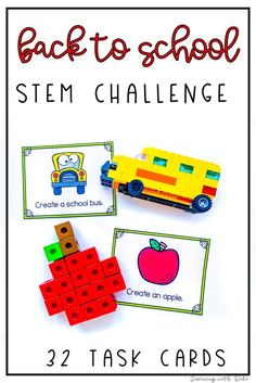 These August and September Stem Challenge task cards, using LEGO® bricks, are perfect for your Makerspace Lab, STEM centers or classroom party! You will find back to school, carnival and catching bugs challenges. There are 32 unique task cards included with 4 per page. Have your students problem solving and creating in no time! Simply print, laminate, cut and go. You can have students choose their own task to work on independently or have students work in small groups on the same tasks.