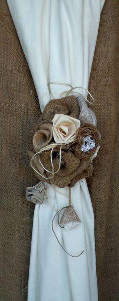 Burlap Curtain Tie Back - Bouquet of Burlap Roses Curtain Tie Back - Curtain accessory - Shabby chic - Country House - Home decor