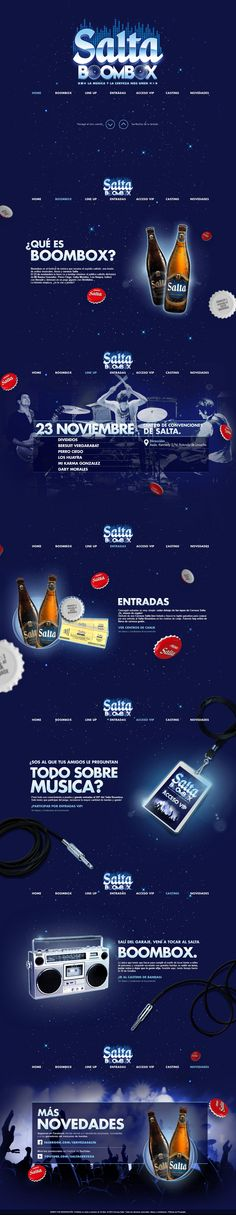 Parallax scrolling blue-schemed One Pager promoting the 'Salta BoomBox' concert in Argentina.