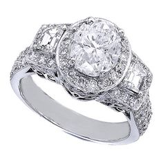 Oval Diamond Engagement Ring Halo Vintage with Trapezoids