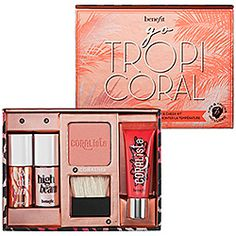 Benefit Cosmetics - Go TropiCORAL   includes an iconic tint, award-winning cheek color, luscious lip gloss, and sexy highlighter–all in a mirrored box–