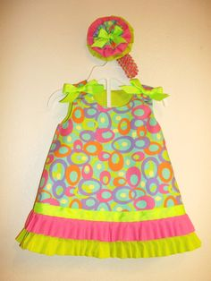 Easter dress with matching headband by designsbygrandma on Etsy, $34.99