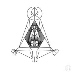 Minimalistic tattoo design / geometric fly illustration