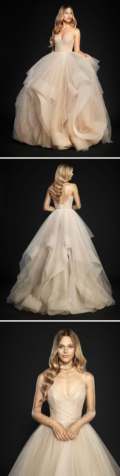 "Hayley Paige ""Chandon"" ball gown in champagne // Wedding dress inspiration #Womendresses"