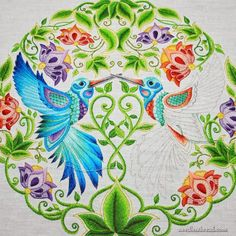 Hand Embroidered Hummingbirds Color And Balance
