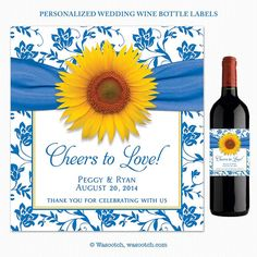 Sunflower French Blue Damask Floral Ribbon Cheers to Love Personalized Wedding Wine Labels by wasootch, $22.00