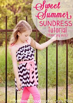 Tutorial to make this adorable sundress in any size. It's so easy, no pattern to cut out, just a few measurements and a couple of hours is a...
