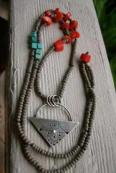 Sterling Silver Compass Long Beaded Necklace in by sierrakeylin