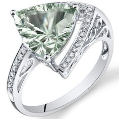 Peora 14K White Gold Trillion Green Amethyst Diamond Ring (3.25 cttw)