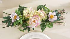 Peony Floral & Twig Horizontal Swag