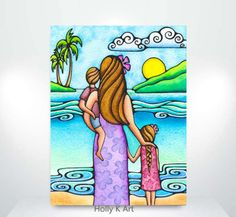 Island Life - Holly K Hawaii Aloha Gallery Oil Pastel Paintings, Oil Pastel Drawings, Oil Pastel Art, Colorful Drawings, Scenery Drawing For Kids, Art Drawings For Kids, Easy Drawings, Easy Flower Drawings, Easy Art For Kids