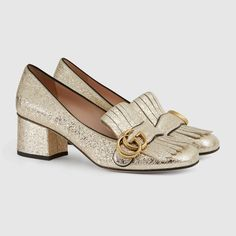 Gucci Women - Gucci Metallic Leather mid-heel pumps - $795.00