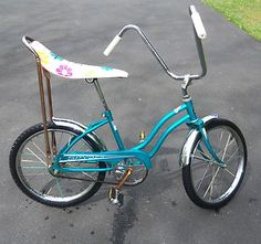 Mine was this color, same seat, but I had streamers and a with basket on the front with flowers on it, and a bell. =)
