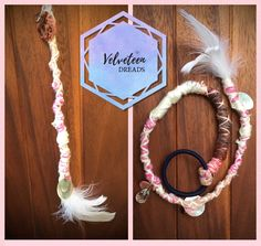 Pink and white dreadwrap. 17 inches and decorated with white feathers, flat shells and beads. Perfect for boho, hippy, alternative or festival hairstyles. Dreads Styles, Hair Styles, Dread Wraps, Viking Hair, Hair Decorations, Festival Looks, White Feathers, Hair Jewelry, Alternative Fashion