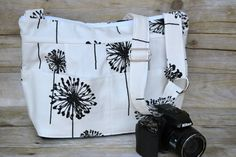 Cool Camera Bag DSLR / digital womens camera purse / black and white dandelion / messenger strap /  by Darby Mack Designs