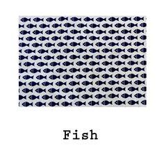 Loneta de algodón estampado Fish. #fish #cotton #fabrics #summer #blue #verano