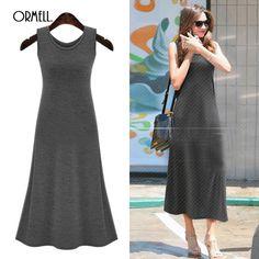 2016 Summer #Dress #Sexy Women Maxi Dress Solid O-neck Sleeveless #Casual Dress Elegant Evening Party Long Dresses Vestidos #maxi-dress
