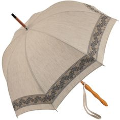 Olivia - UVP Beige Parasol with Embroidered Lace by Pierre Vaux - Brolliesgalore