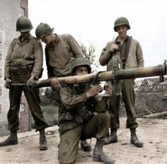 American soldiers with captured panzerschreck