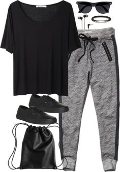 Black and white joggers, black joggers outfit, grey joggers, jogger pants outfit, Lazy Outfits, Sporty Outfits, Summer Outfits, Cute Outfits, Lazy Day Outfits For School, Winter Outfits, Jogger Outfit, Pants Outfit, Look Fashion