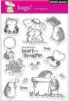 Set of Three Penny Black Clear Stamps Set Featuring Cute Hedgehogs and Cats Penny Black Karten, Penny Black Cards, Colouring Pages, Coloring Books, Cute Hedgehog, Tampons, Digi Stamps, Stamping Up, Rubber Stamping