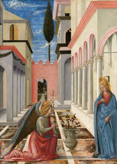 Fra Carnevale (painter) Umbrian-Florentine, active c. 1445 - 1484 The Annunciation, c. 1445/1450 tempera on panel overall: 87.6 x 62.8 cm (34 1/2 x 24 3/4 in.) framed: 120 x 92.4 x 8.3 cm (47 1/4 x 36 3/8 x 3 1/4 in.)