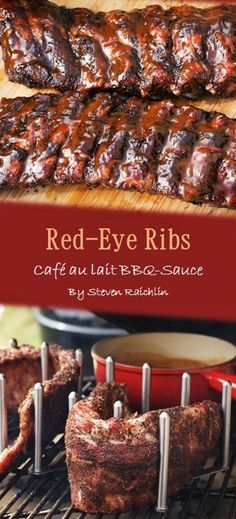 """This delicious red eye ribs recipe with """"café au lait"""" sauce is a must for every fan of BBQ! I found this recipe in """"Best ribs ever"""" by Steven Raichlin. Vegan Barbecue, Barbecue Recipes, Grilling Recipes, Vegetarian Grilling, Healthy Grilling, Barbecue Sauce, Bbq Meat, Bbq Pork, Pulled Pork"""