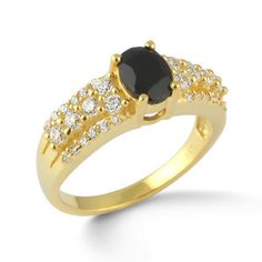 Fine 925 Sterling Silver Ring Natural Black Onyx Stone Gold Plated Jewelry SZ 7 #Rinnga