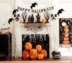 Halloween Fireplace, great idea for fireplaces that don't work!
