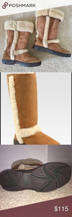 UGG sunburst tall chestnut boots Gently worn, authentic UGG Australia Sunburst women's boots. This style is no longer available in stores, and it features fur on the outside and can be worn folded up or down. UGG Shoes Winter & Rain Boots