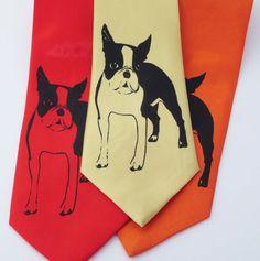 Boston Terrier Dog screen printed Necktie Man's Best by IceOrchid, $30.00