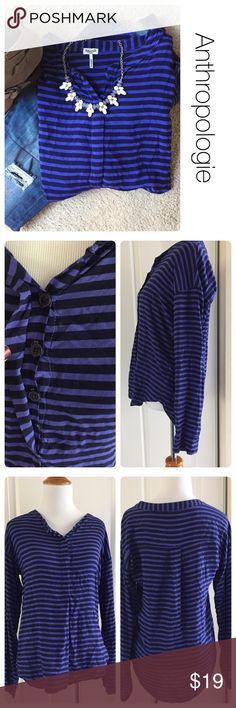 Anthropologie Spendid Brand hi-lo striped top xs NO stains or holes but some piling as pictured in photo #4. 100% Rayon. Blue and navy stripes. Anthropologie Tops Blouses