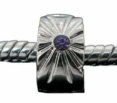 """ONE Clip Lock Stopper Bead """" Sunburst with Purple Rhinestone """" Fits Pandora Style Bracelets European Charm Bead Bracelets Includes 2 Clear Silicone Rubber Stoppers Rings SEXY SPARKLES. $4.99. Quantity: 1 Bead. Fits: All major Brand Bracelets, such as Pandora, Troll, Chamilia, Carlo Biagi, Zable, and other add-a-bead bracelets."""