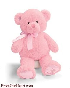 Gund My First Teddy Medium 15 inch Pink Bear plush toy. Loveable, cuddly friend. Soft comforting texture. Great fit for nursery decor. Embroidered with My First Teddy on left foot. Embroidered eyes and nose, no small parts to worry about. Coordinating ribbon. My First Teddy is Machine Washable. Safe for newborns. $12.75