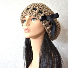 School Girl Hat in Taupe with Black Grosgrain ribbon $42