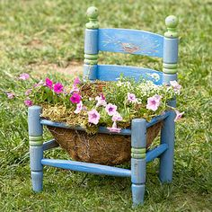 Sooo cute. To create your version, simply remove the seat or cut a hole in it and make a wire frame from chicken wire. Line the frame with coconut fiber, fill it with potting mix, and you're ready to plant.