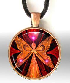 Red Jewelry Necklace Angel Pendant Chakra Jewelry Reiki Energy Necklace